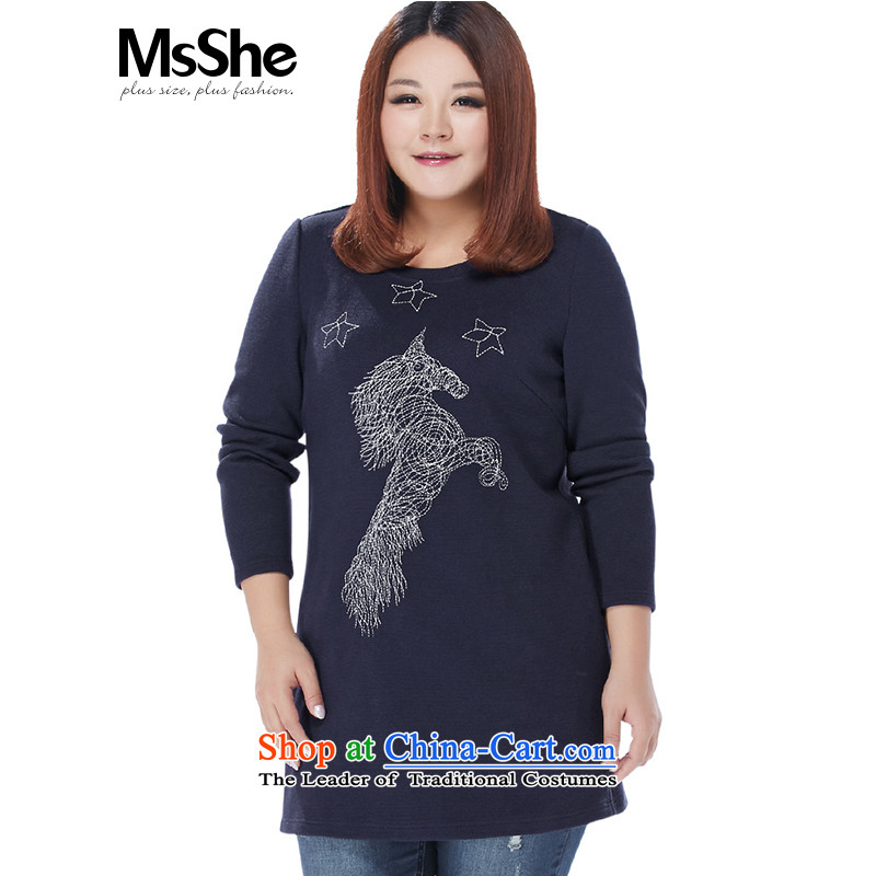 Msshe xl women 2015 new winter clothing embroidered dress shirt MM thick clothes blue 5XL 九龍內地段11118號