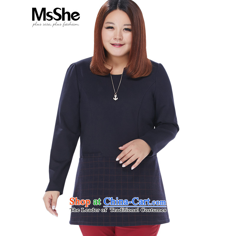 Large msshe women 2015 new winter clothing thick MM leave two segments of the long coat 10618�L blue