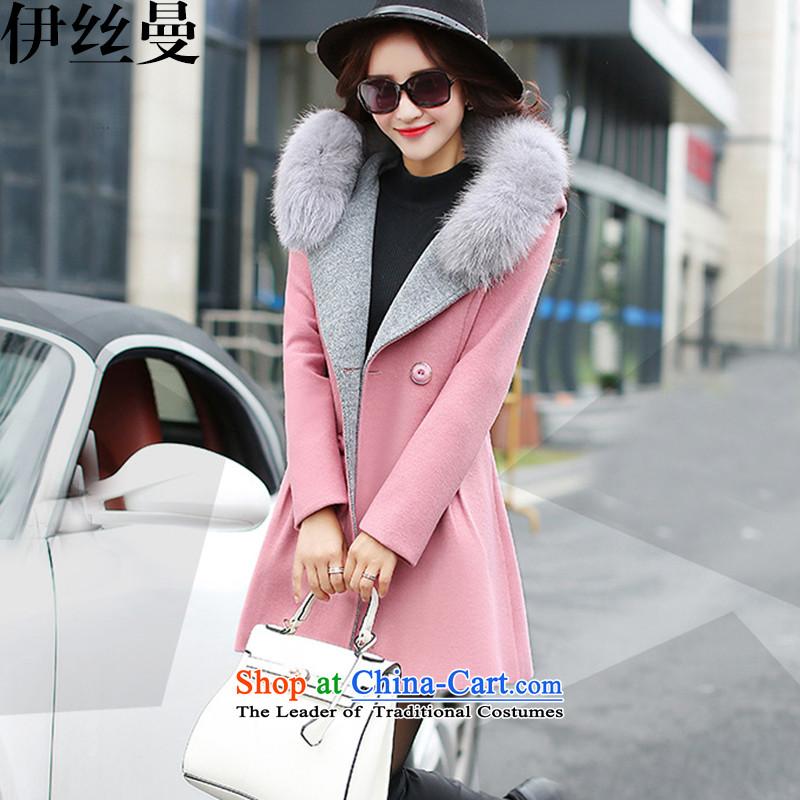 El Wire Cayman 2015 winter clothing new women's gross girls jacket? plush collar cap a wool coat FF5046 pink M