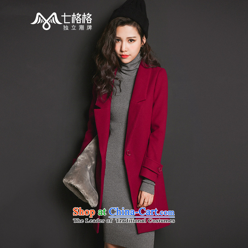 Pre-sale _ July 2015 Winter New Pearl Solid Color suits for long coats_? female wine red - pre-sale since 15 December, _ S