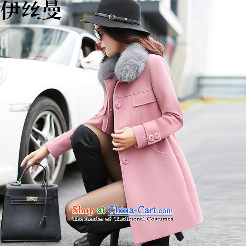 El Wire Cayman 2015 winter new women's gross for Korean jacket in gross?   long jacket, coats FF5047? pink燣