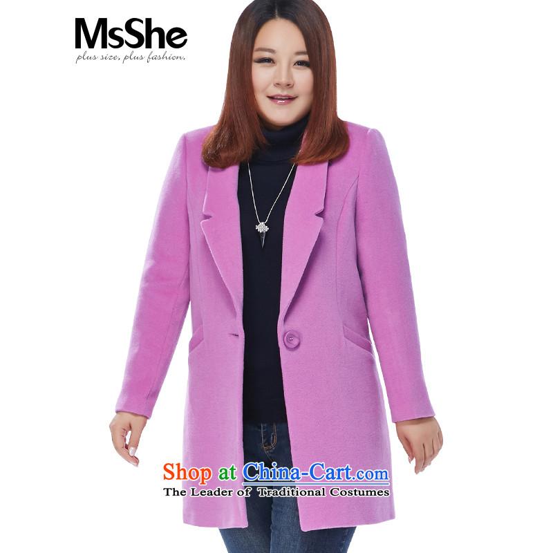 Large msshe women 2015 new winter clothing 80_ wool lapel suit? 10675 jacket purpleXL