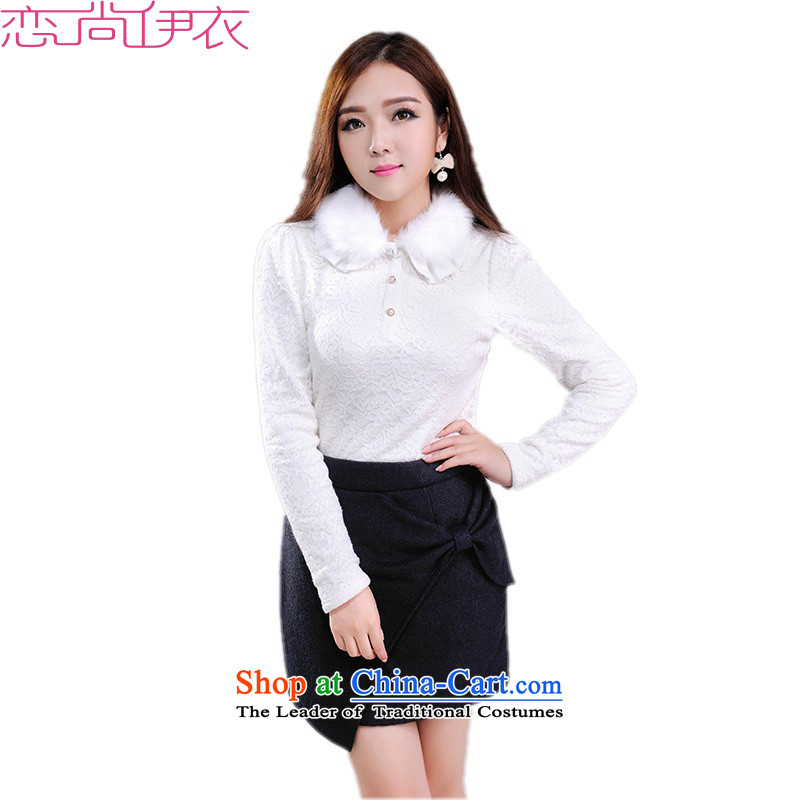 The new 2015 winter thick plus lint-free xl lace shirt collar forming the gross warm sweater long-sleeved shirt thick mm video thin white T-shirt OL large white�L燼pproximately 180-200 catty