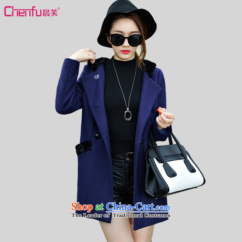 Morning to 2015 autumn and winter large female new Korean Sau San video thin double-warm jacket? gross rabbit hair with Cap Color Plane Collision stitching a wool coat blue 3XL recommendations 140-150catty