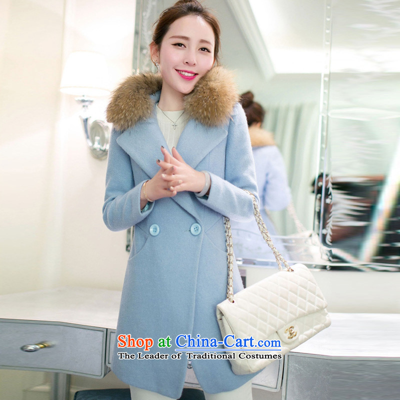 Statements were made by Lau autumn and winter in New Thick Long Sau San Mao a wool coat SA light blue?M