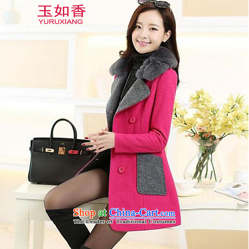 Yuk-yu Heung gross? Women's blouses coats of autumn and winter 2015 Women's new a windbreaker. Long Korean lapel loose video thin large double-jacket in redXL