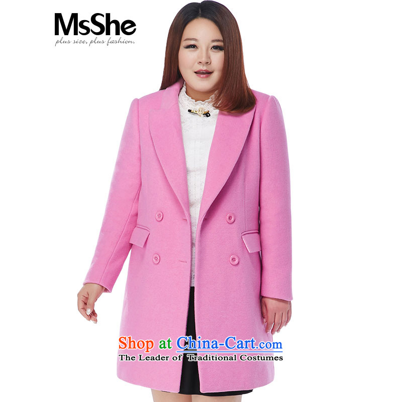 Large msshe women 2015 new winter clothing thick sister shoulder pad jacket thickness 10461 gross? pink?3XL- large a code