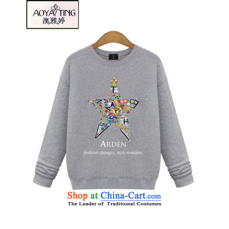 O Ya-ting to increase women's code 2015 autumn and winter new thick mm loose video thin petokraka stamp kit and long-sleeve sweater women 0591 Gray2XL 125-145 recommends that you Jin