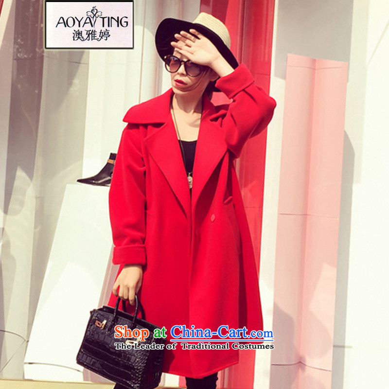 O Ya-ting to increase women's code 2015 autumn and winter new products thick mm thin hair? jacket graphics in long Korean female 8963 sub-coats Connie�L red 175-200 recommends that you Jin