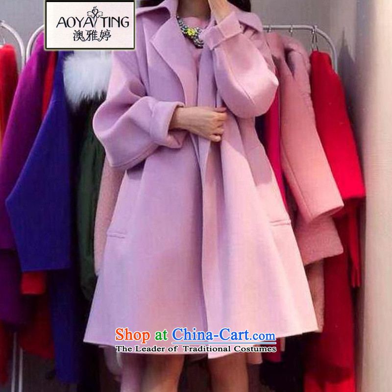 O Ya-ting to increase women's code 2015 autumn and winter new mm thick Korean version thin pink jacket girl in gross? Long COAT 1395 in sub picture Connie color燲L 105-128 recommends that you Jin