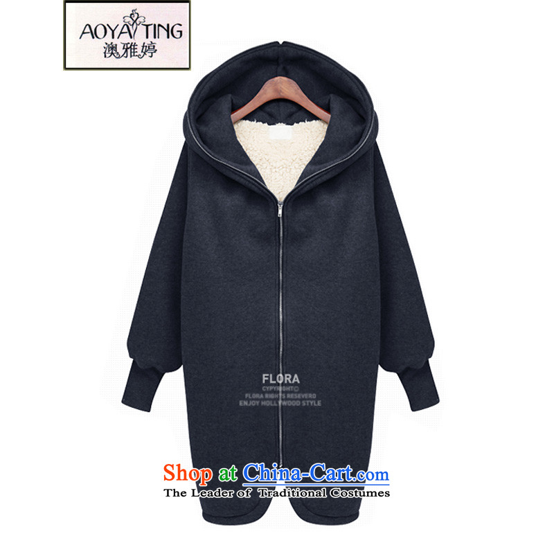 O Ya-ting to increase women's code 2015 autumn and winter new products thick mm thin in the Korean version of a sweater jacket female lamb gross cotton coat 5018 Navy5XL 175-200 recommends that you Jin