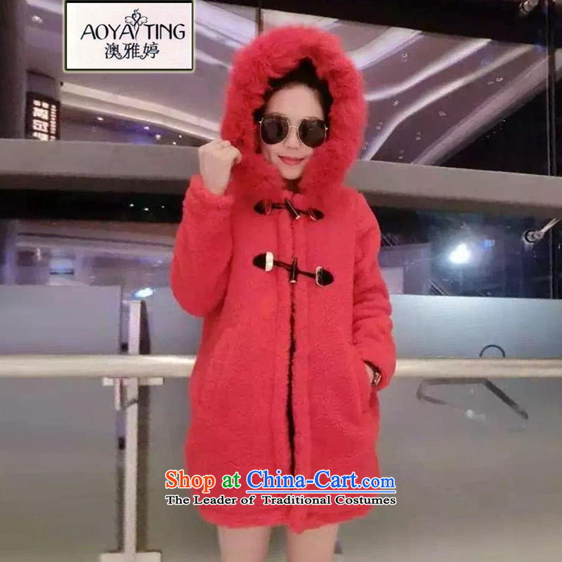 O Ya-ting to increase women's code 2015 autumn and winter in the new fat mm long graphics card stamp connected thin cotton clothes jacket Female Cap52565XL red 175-200 recommends that you Jin