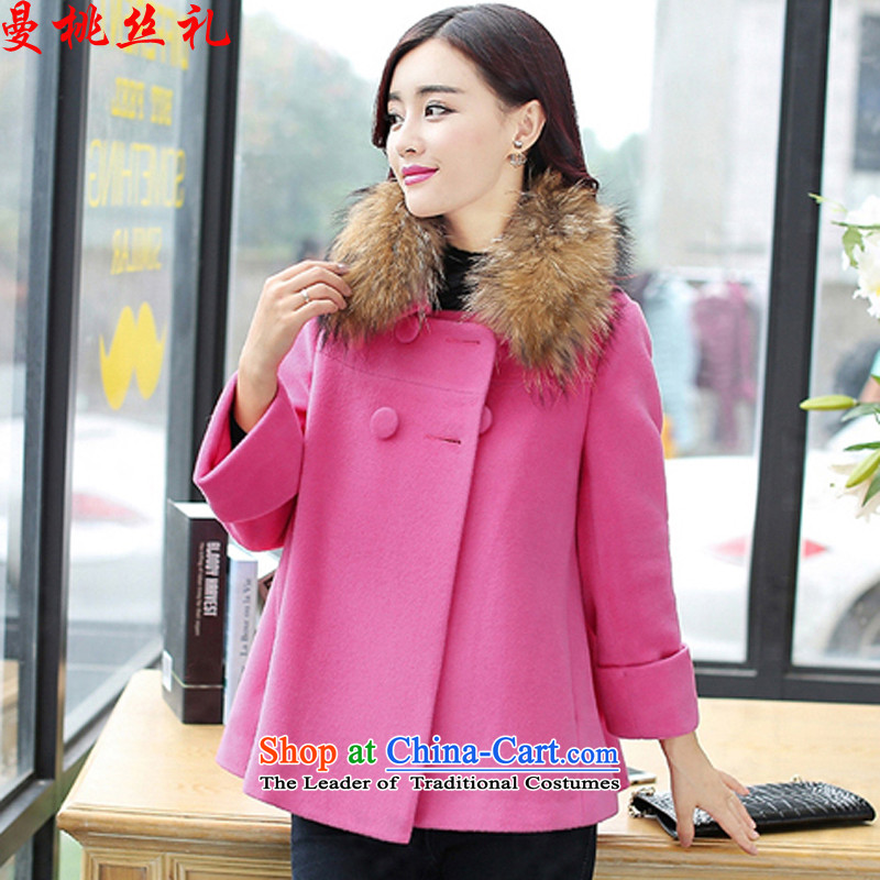 Cayman commercial silk ceremony? jacket female short hair, autumn and winter 2015, Korea Women's small-fresh wind edition campaign sub-collar short sleeve female gross temperament wild a jacket of red hair for XL