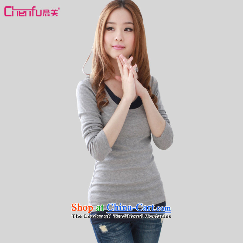 Morning to 2015 autumn and winter new Korean version of large numbers of female false two forming the Netherlands stitching knocked colors plus lint-free T-shirt, forming the thick Sau San thin gray long-sleeved shirt graphics without lint-free4XLrecomm