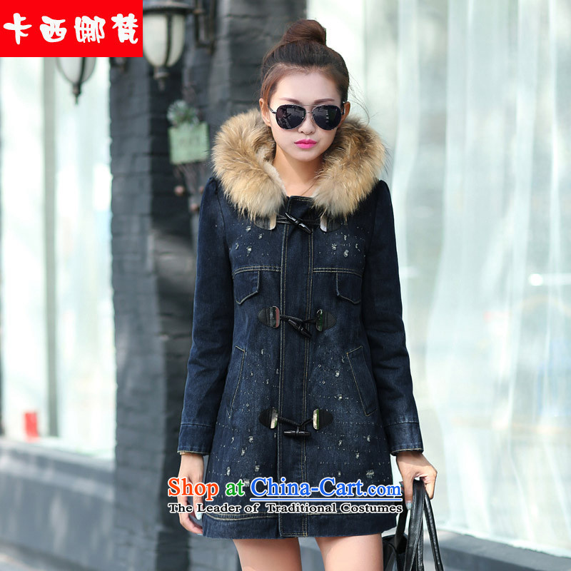 Card, Van Gogh Korean 2015 Fall_Winter Collections new women's add lint-free with cap reinforcement cardigan leisure in long true cowboy gross Neck Jacket Denim blue燤