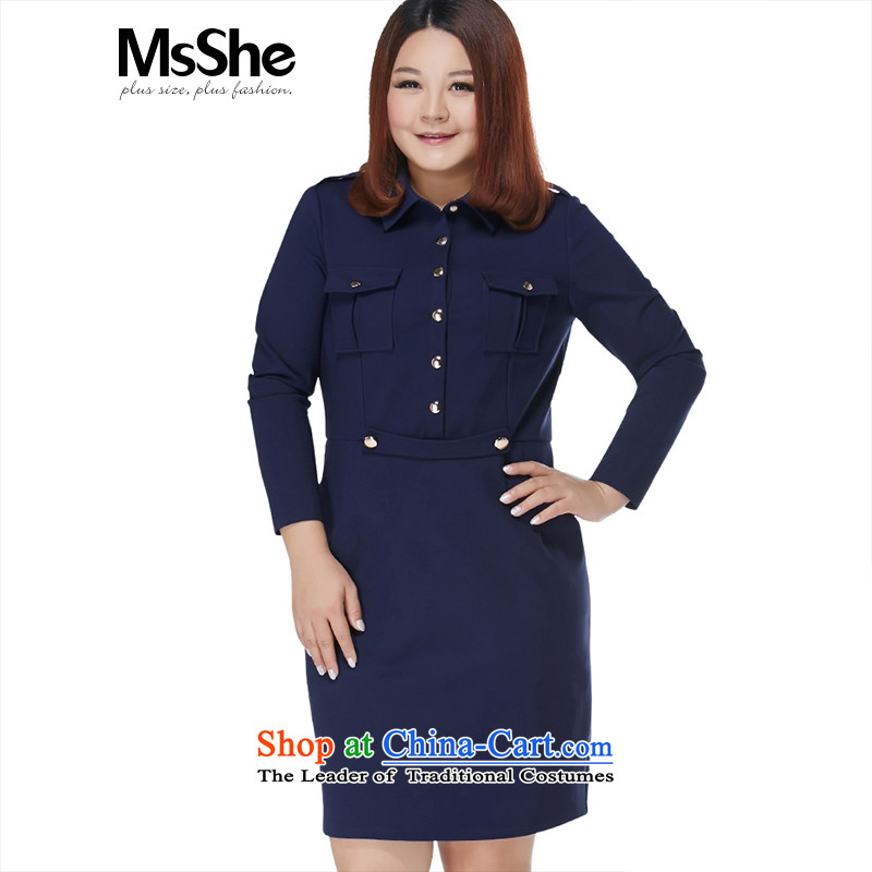 Large msshe women 2015 new winter clothing thick sister lapel Career Dress pre-sale 10782 blue�L- pre-sale to arrive on 10 December
