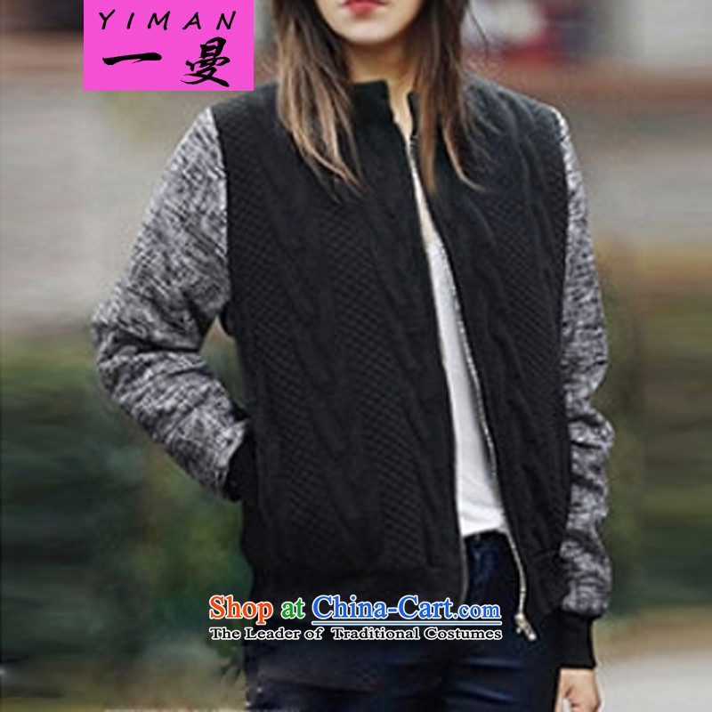 A large Cayman Coat 2015 new autumn and winter large European and American women thick mm thin, video knitted cardigans 624 Black 5XL/ recommendations 180-200 catty