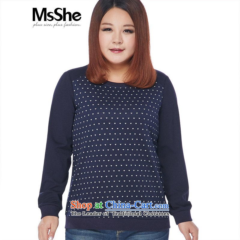To increase the number msshe women 2015 new winter clothing thick MM round-neck collar love jacquard ribbed sweater 10887 blue�L