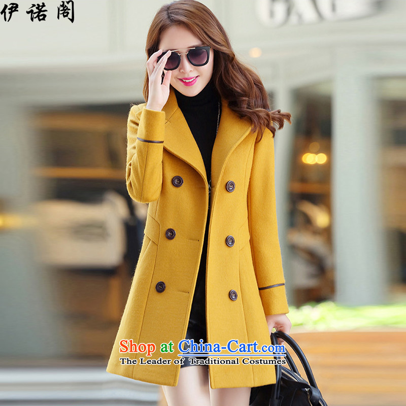 2015 Fall_Winter Collections new Korean Sau San over the medium to longer term gross large female jacket is double-a wool coat yellow large spot聽M