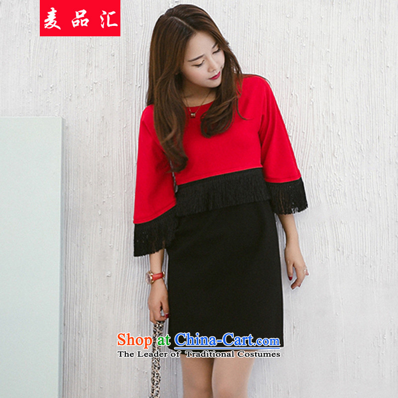 Mr products fall thick mm load sinks 2015 new xl female loose video thin edging dresses thick solid catty 200 sister Netherlands 9169 red with a black5XL recommendations 175-220 catty