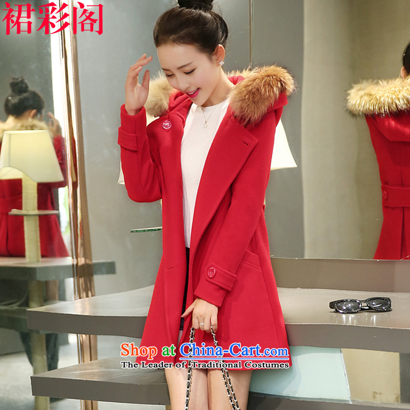 The Multimedia Room winter skirt the new Korean version of large numbers of ladies in gross? jacket long hair collar cap Sau San a wool coat 6,625 red S