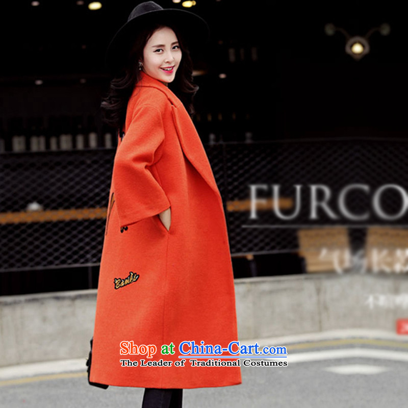 Sin has�15 winter clothing new Korean citizenry video thin stylish medium to long term, Solid Color Gross Orange Female coats? thick warm�  S
