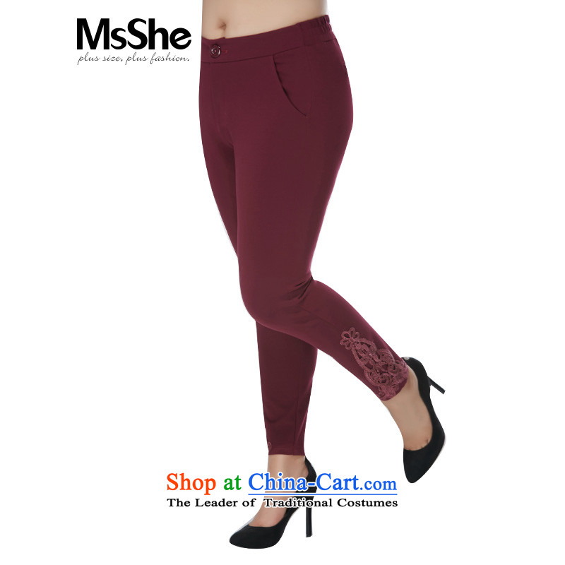 Large msshe women 2015 new winter thick MM lace lace castor trouser press trousers 10890 wine red燭4