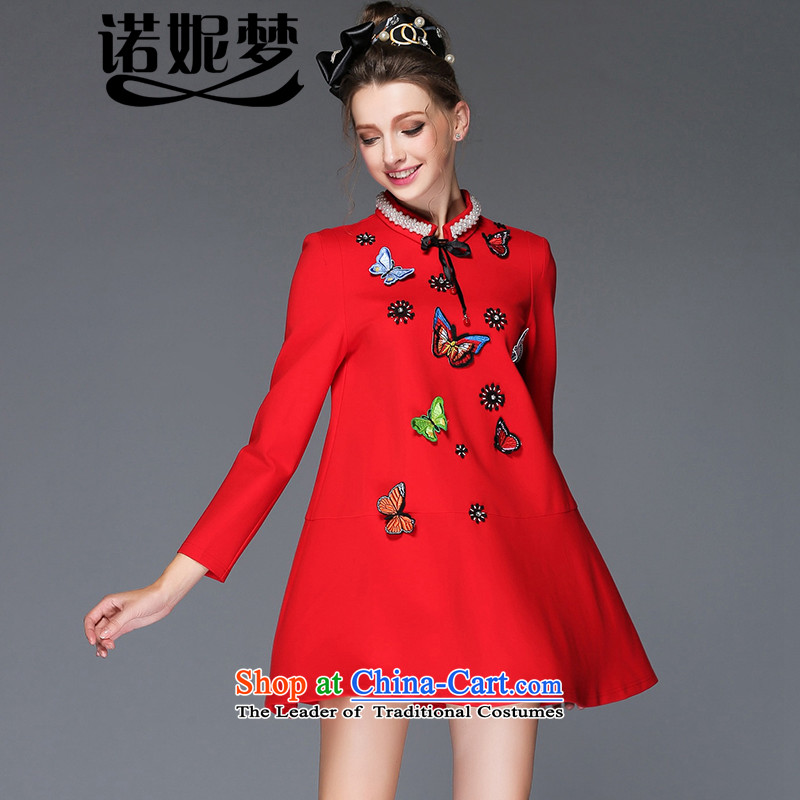 The Ni dream large high-end European and American Women 2015 Fall_Winter Collections new fat mm temperament lapel pin pearl butterfly embroidery long-sleeved dresses G-q229聽XXXL red