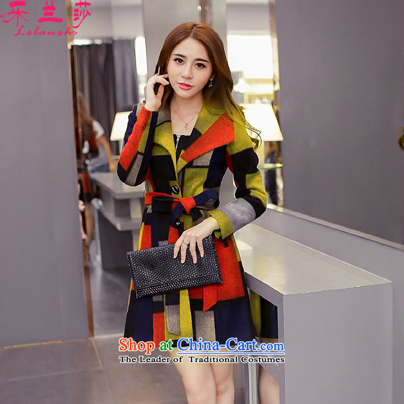 Alam Shah America2015 autumn and winter new a wool coat knocked in color patterned Sau San long hair? female yellow jacketL