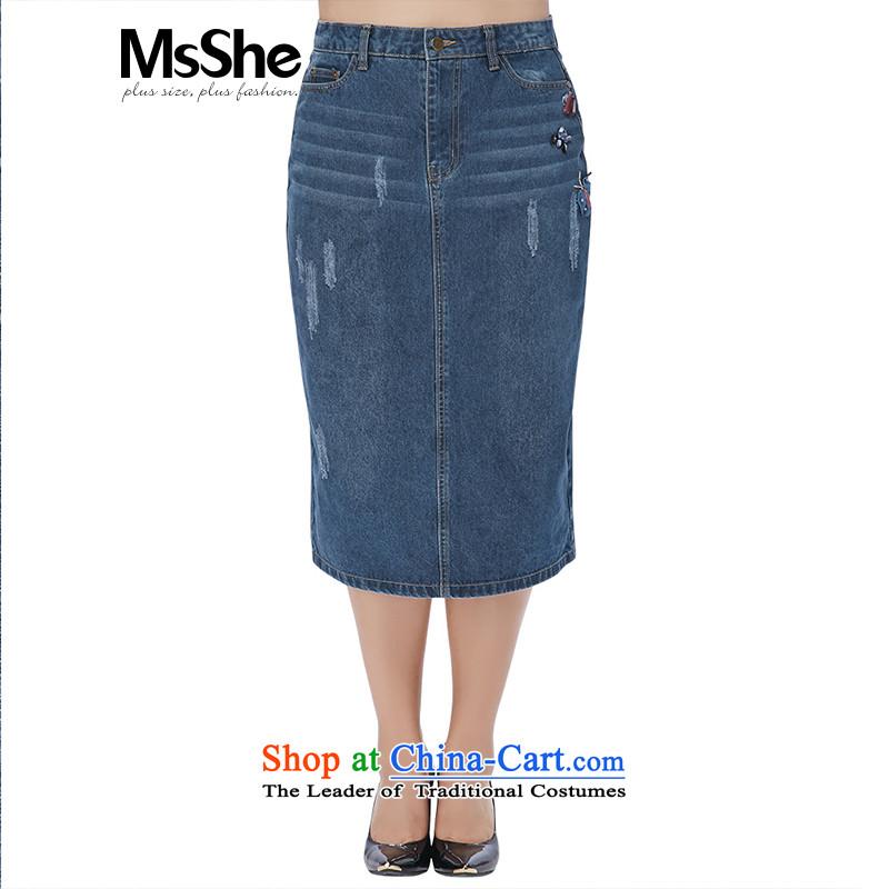 Large msshe women 2015 new winter clothing thick Cotton Denim upper body sister skirt 10585 Denim blue燭6