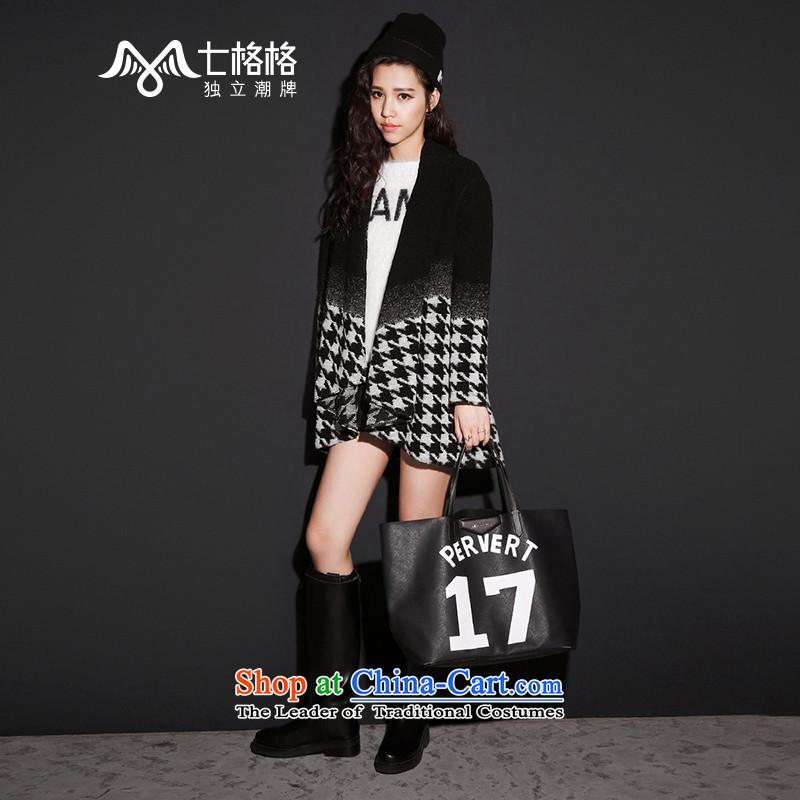 (Non-dual 12 pre-sale @ 7- Pearl 2015 autumn and winter new gradient chidori grid long coats of female blackL?