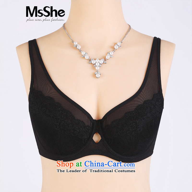 Large msshe women 2015 new full-cup double-lace Underwear bra 10742 Black?105C