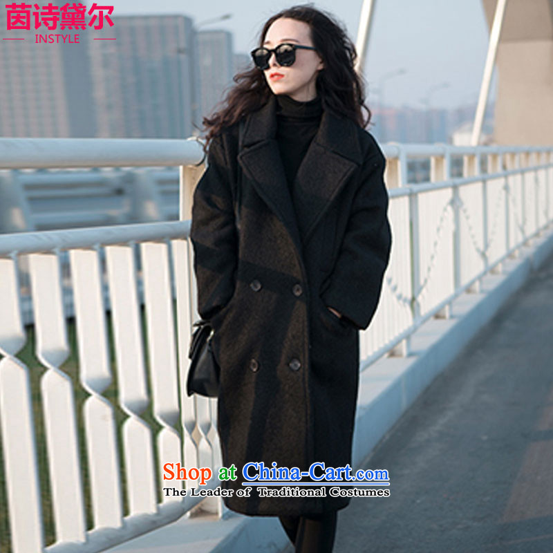 Athena Chu Poetry, 2015 autumn and winter new leisure Wild hair stylish girl loose coat? long coats of female Korean? 0702 Black L