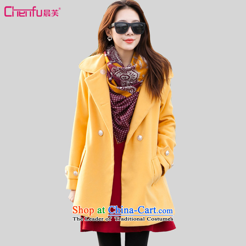 Morning to 2015 autumn and winter large new women's double-Twine Bow Knot coats gross? pure color is simple and stylish cashmere overcoats�L turmeric yellow jacket recommendations 155-165 catty
