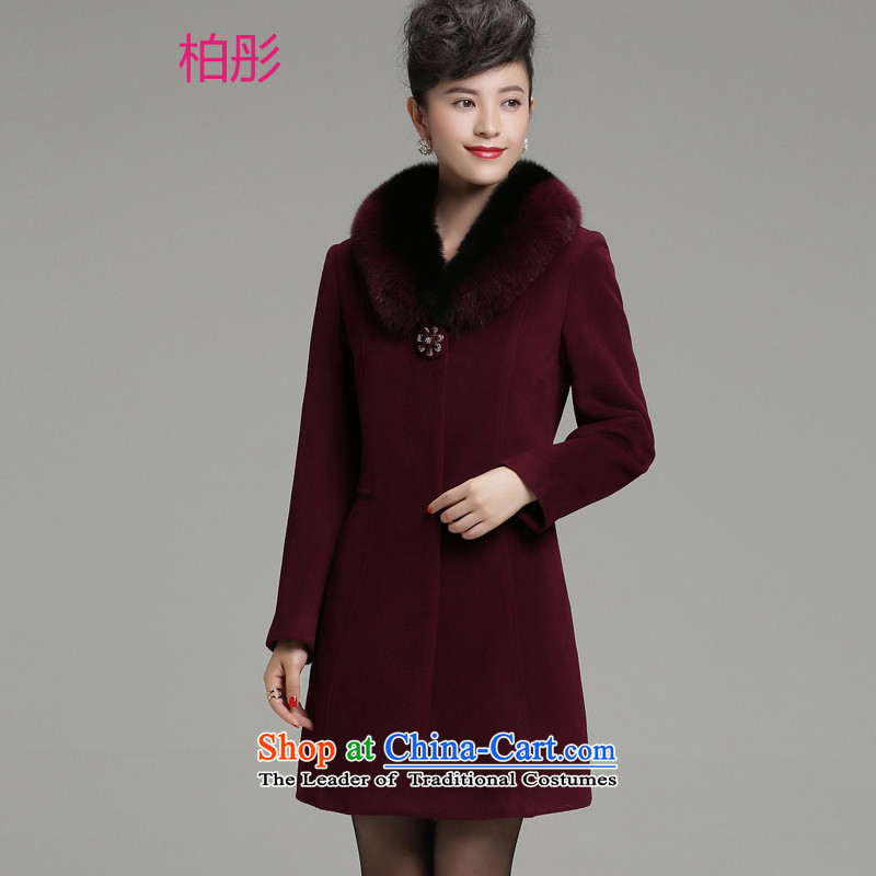 Cashmere overcoat girls Leung Pak 2015 winter clothing new moms with high-end fox gross for long woolen coat female jacket chestnut horses L