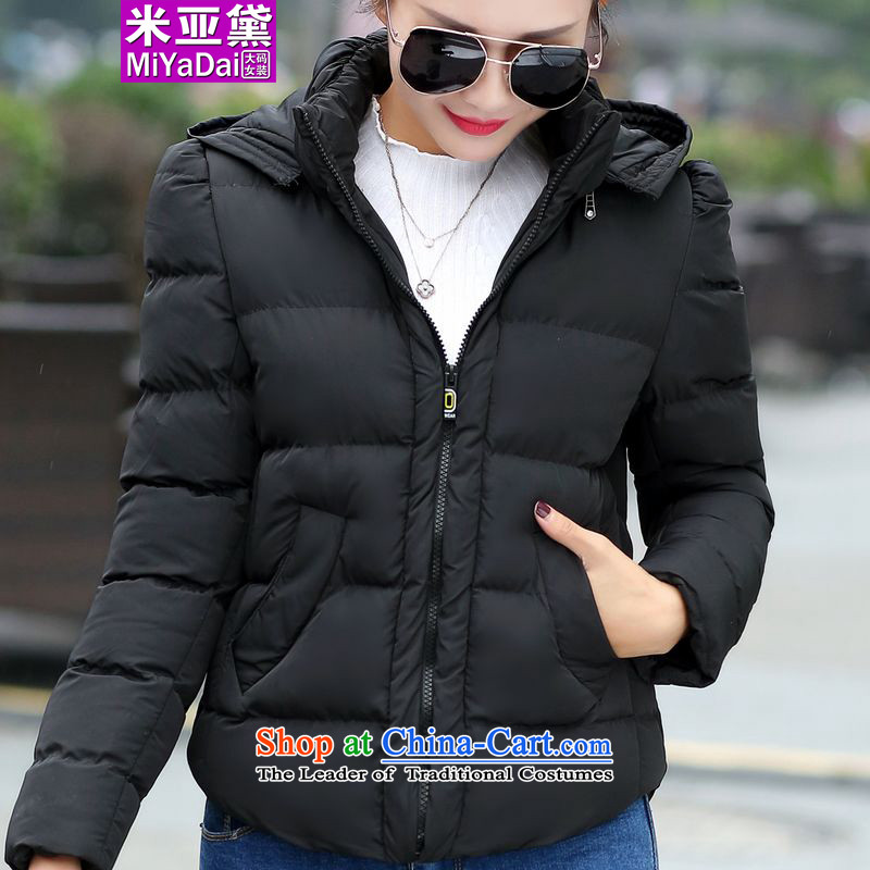 The Doi larger female 茫镁貌芒 thick mm winter 2015 new graphics thin cap plus obesity sister cotton coat Sau San xl Services 200 catties female black聽6XL