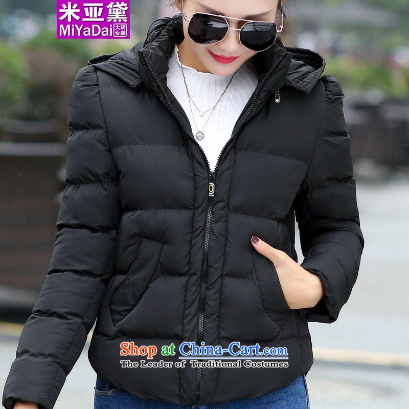 The Doi larger female 泾蜮 thick mm winter 2015 new graphics thin cap plus obesity sister cotton coat Sau San xl Services 200 catties female black�L