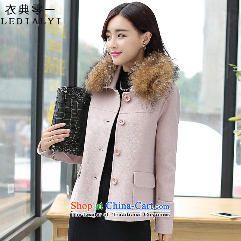 Yi code 12.01 2015 Fall/Winter Collections for women won the new version with collar double-side wool Sau San Mao jacket female short of what a wool coat jacket with rice white collar XL