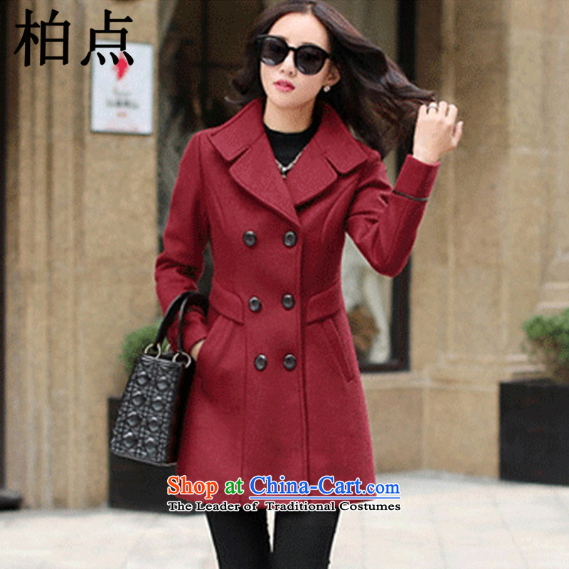 Pak point gross? female 2015 Autumn jacket for women Fall_Winter Collections new Korean long hair in Sau San? coats female 158.2 wine red燲L