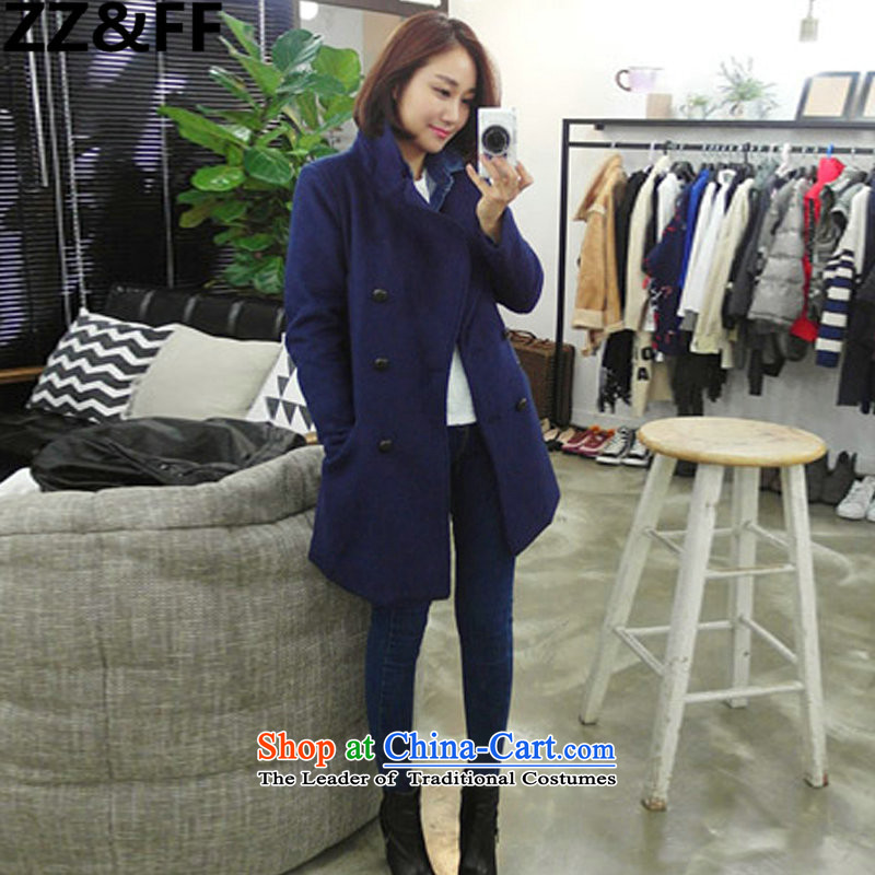 2015 Autumn and winter thickened Zz&ff larger autumn and winter female thick mm200 catty, double-gross a wool coat wind jacket5258 Blue XXXXLL( recommendations 160-180 catties)