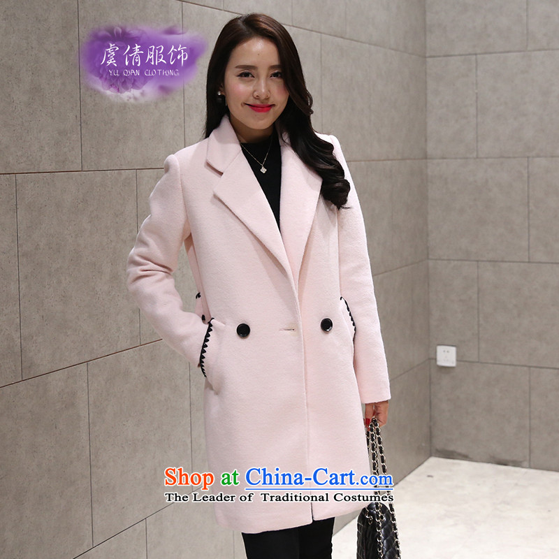 Yu Chien YQ 2015 new Korean female decorated wool coat who? graphics thin double-medium to long term_? Y343 sub-pink燲L