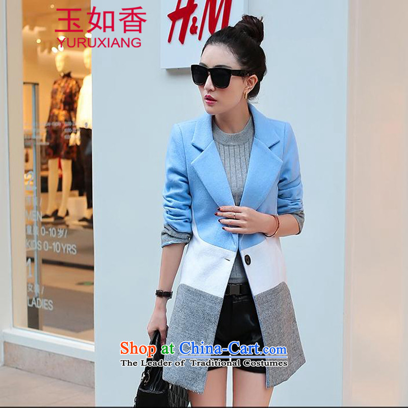 Yuk-yu Heung 2015 gross girls jacket? Long stitching knocked color autumn and winter and stylish lounge ni-personality temperament coats of Sau San skyblue M