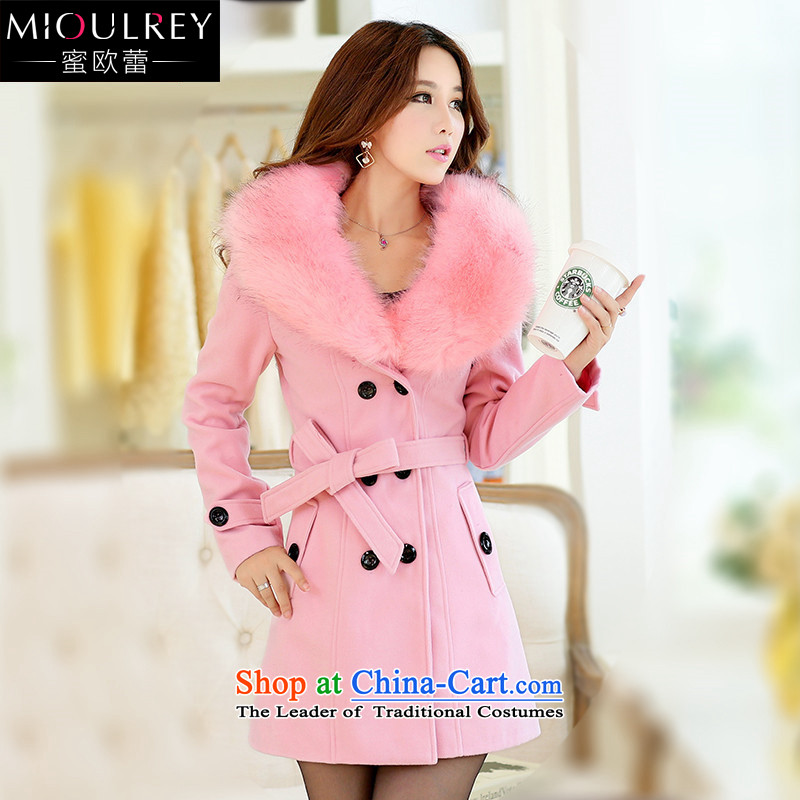 Alfa Romeo Lei�15 winter for women in new long hair stylish coat? Korean citizenry nagymaros collar Sau San a coat 1032 pink燲L
