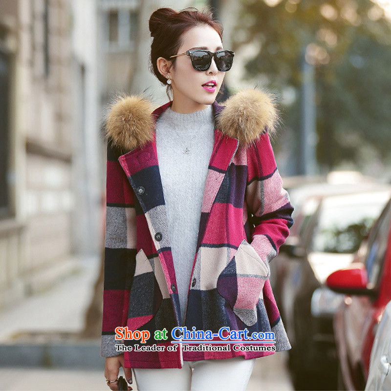 In the Korean version of the Hyatt Regency style patterned gross flows of autumn and winter coats? New cloak? coats SA picture gross color L