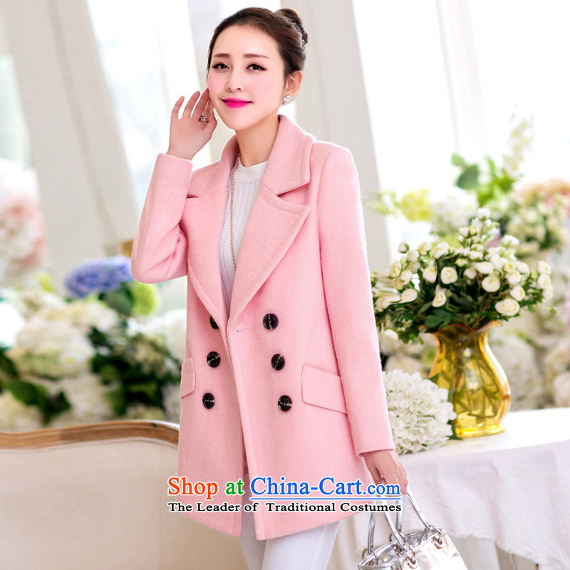 In�15, Priority Club Fall_Winter Collections new Korean reverse collar double-a long coats in sweet? jacket girls Sau San Mao SA pink燣