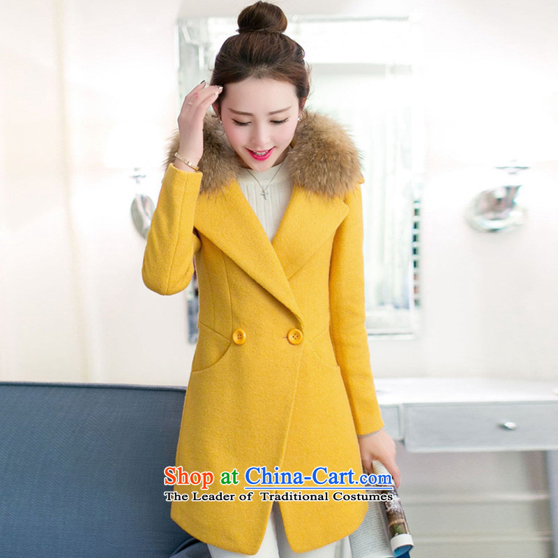 In the autumn and winter Yue New in thick long Sau San a wool coat SA YELLOW燬