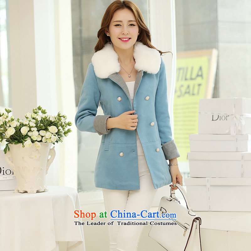 In the Korean version of the Hyatt Regency gross for a wool coat double-girl jacket SA BLUE聽XL