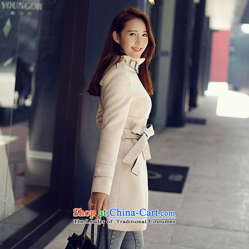 In the autumn and winter Yue Korean girl who decorated coats that long Leisure gross? jacket SA White XL