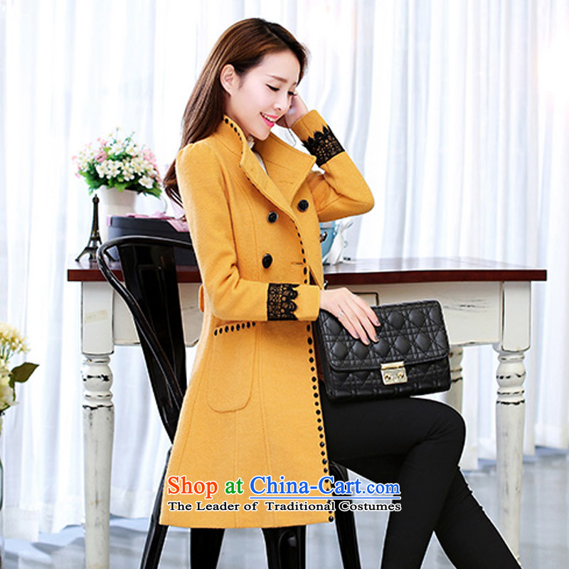 In the new paragraph Yue gross?   in the Korean version of the jacket long)? The coats female jacket SA YELLOW聽, L, Yue and shopping on the Internet has been pressed.