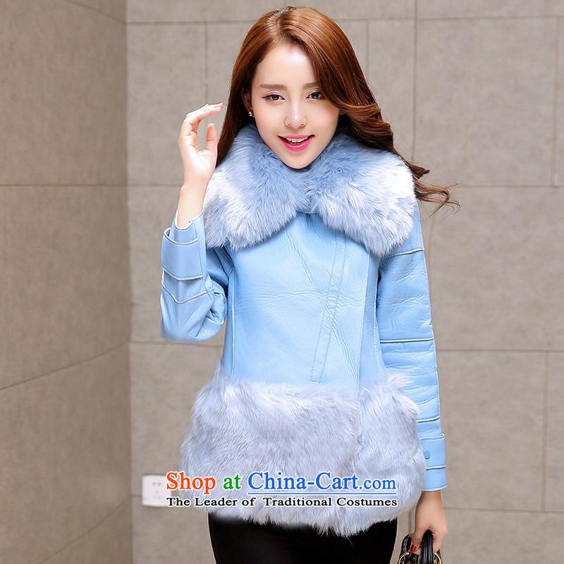 The Hyatt Regency in winter the new Korean version thin hair collar short of the amount so thick fur coat coats SA light blue燬